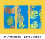 monstera color frame on wall... | Shutterstock . vector #1345845566