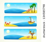 beach banners with hand drawn... | Shutterstock .eps vector #134585798