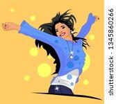the girl is happy and joyful | Shutterstock .eps vector #1345860266