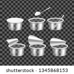 transparent empty plastic... | Shutterstock .eps vector #1345868153