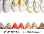 frame of different shoes on... | Shutterstock . vector #1345868630