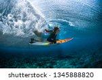 underwater shot of the young... | Shutterstock . vector #1345888820