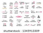 vector wedding caligraphy set....   Shutterstock .eps vector #1345913309