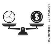 time and money on scales icon.... | Shutterstock .eps vector #1345936079