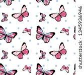 Stock vector color butterfly polka pattern girl tee illustration art vector 1345936946