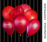 flying festive balloons shiny... | Shutterstock .eps vector #1345942346