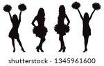 girls cheerleading dancer with... | Shutterstock .eps vector #1345961600