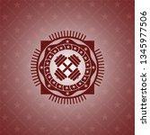 dumbbell icon inside retro... | Shutterstock .eps vector #1345977506
