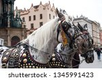 pair of spotted horses in... | Shutterstock . vector #1345991423
