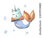 fun magic cat unicorn and... | Shutterstock .eps vector #1345993880