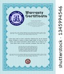 light blue vintage warranty...   Shutterstock .eps vector #1345994546