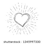 heart symbol with sunburst | Shutterstock .eps vector #1345997330