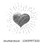 heart symbol with sunburst | Shutterstock .eps vector #1345997333