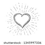 heart symbol with sunburst | Shutterstock .eps vector #1345997336