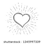 heart symbol with sunburst | Shutterstock .eps vector #1345997339
