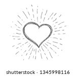 heart symbol with sunburst | Shutterstock .eps vector #1345998116