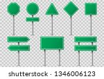 set of green road signs on... | Shutterstock .eps vector #1346006123