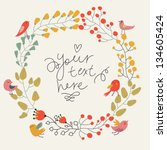 save the date floral card.... | Shutterstock .eps vector #134605424