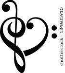 bass and treble clef  heart ... | Shutterstock .eps vector #134605910