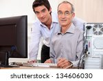man helping granddad with... | Shutterstock . vector #134606030