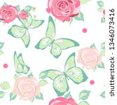 pattern beautiful roses and ...   Shutterstock . vector #1346073416