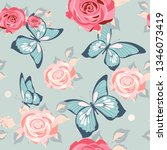pattern beautiful roses and ...   Shutterstock . vector #1346073419