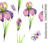 beautiful pink flowers  bee ...   Shutterstock . vector #1346073440