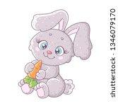 cute cartoon bunny with carrot.  | Shutterstock .eps vector #1346079170