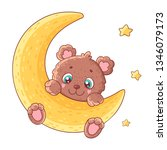 cute teddy bear on moon.... | Shutterstock .eps vector #1346079173
