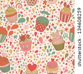 sweet concept seamless pattern. ... | Shutterstock .eps vector #134608259