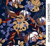 fantasy florals seamless... | Shutterstock .eps vector #1346098340