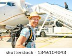 a young traveling man get in...   Shutterstock . vector #1346104043