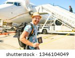 a young traveling man get in...   Shutterstock . vector #1346104049