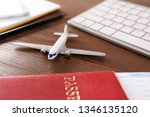 composition with airplane model ...   Shutterstock . vector #1346135120