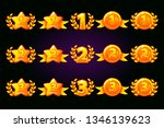 golden rewards icons set. 1st ...