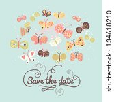Stock vector save the date concept illustration cartoon butterflies on blue cute stylish wedding invitation 134618210