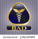 shiny badge with caduceus...   Shutterstock .eps vector #1346185889