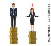 woman earns less money than man ... | Shutterstock .eps vector #1346189156