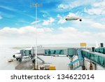 the plane at the airport on... | Shutterstock . vector #134622014