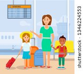 mother travelling with little...   Shutterstock .eps vector #1346224553