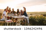 group of friends taking selfie... | Shutterstock . vector #1346242496