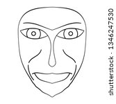 cartoon face. contour face...   Shutterstock .eps vector #1346247530