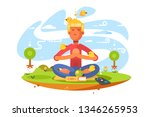 young man meditating on nature... | Shutterstock .eps vector #1346265953