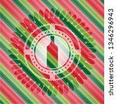 bottle icon inside christmas... | Shutterstock .eps vector #1346296943