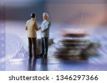 double exposure row of coins of ... | Shutterstock . vector #1346297366