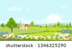 panorama view of spring village ... | Shutterstock .eps vector #1346325290