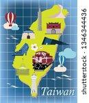 taiwan travel map symbols...   Shutterstock .eps vector #1346344436