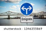 street sign to emigrate   Shutterstock . vector #1346355869