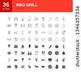 bbq grill line web glyph icons. ...   Shutterstock .eps vector #1346357336