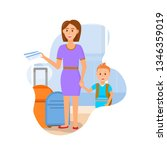 mother travel with son...   Shutterstock .eps vector #1346359019